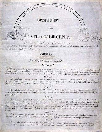 Politics of California - Image: California Constitution 1849 title page