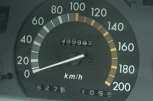 A speedometer from an Australian car, showing the speed of the vehicle only in km/h, as in almost all countries. Camry Speed Odometer.jpg