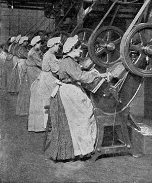 Female workers in an H. J. Heinz can factory s...