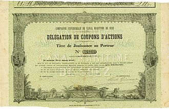 Suez Canal Company - Participating certificate of the Compagnie Universelle du Canal Maritime de Suez, issued 1. January 1889