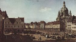 Bernardo Bellotto: The New Market in Dresden from Moritzstraße