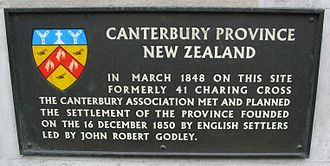 European New Zealanders - Plaque commemorating the first meeting of the Canterbury Association in Charing Cross, London. The Association would go on to found Canterbury, New Zealand in 1850.