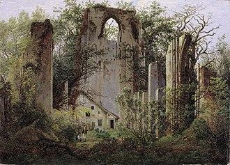 The Abbey in the Oakwood - Ruins of Eldena near Greifswald (1825), Oil on canvas; 35 × 49 cm, Alte Nationalgalerie.