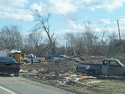 Post office, destroyed by a tornado, in Castalian Springs, Tennessee, 2008
