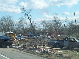 Castalian Springs, Tennessee - Post office, destroyed by a tornado, in Castalian Springs, Tennessee, 2008
