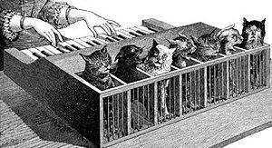 Cat organ - from La Nature, 1883
