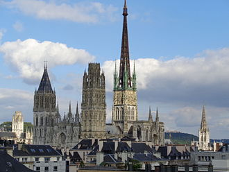 Rouen - Left to right: St Ouen, Notre Dame, St Maclou