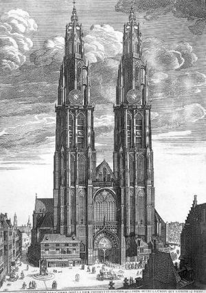 Cathedral of Our Lady (Antwerp) - Artist vision of the completed cathedral (18th century, after Wenceslaus Hollar, 1649)