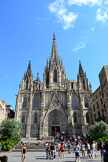Gothic cathedral and seat of the Archbishop of Barcelona, Spain