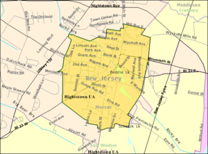 Hightstown, New Jersey - Image: Census Bureau map of Hightstown, New Jersey