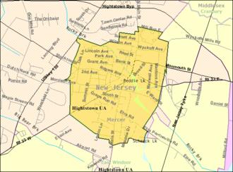 Hightstown, New Jersey - Image: Census Bureau map of Hightstown, New Jersey