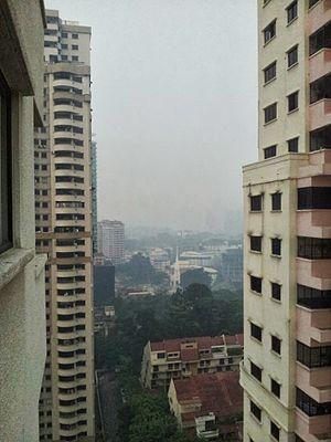 2013 Southeast Asian haze - Centre of Kuala Lumpur looking south on 23 June 2013.