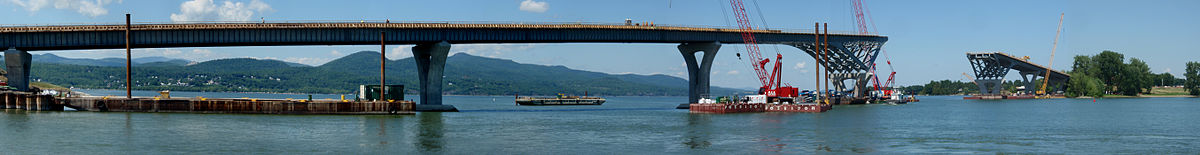 A panorama of the replacement bridge under construction