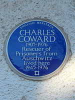 Charles Coward 1905 – 1976 Rescuer of prisoners from Auschwitz lived here 1945 - 1976.jpg
