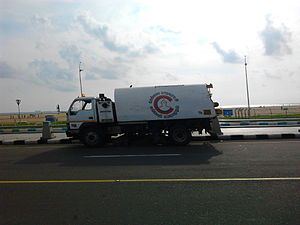 Greater Chennai Corporation - Chennai Corporation's Mechanical Sweeper in action at the Beach Road