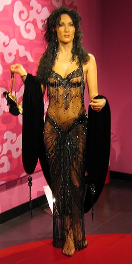 Wax figure of Cher draped in a recreation of the outfit she wore to the 60th Academy Awards in 1988 Cher-Wax-338354947 Cropped.jpg
