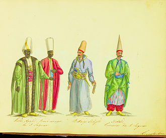 "Eunuch - The Harem Ağası, head of the black eunuchs of the Ottoman Imperial Harem. The title literally means ""Chief of the Girls""."