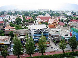 Partie de la vieille ville de Chiang Mai à l'intérieur des douves.