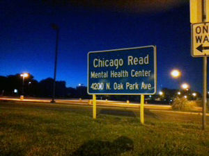 English: Chicago-Read Mental Health Center sign