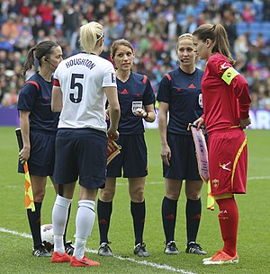Steph Houghton - Houghton captaining England against Montenegro in April 2014