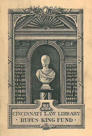 Edwin Davis French - A bookplate designed by French for the Cincinnati Law Library in 1903. It features a bust of Rufus King, who was President of the University of Cincinnati and later Dean of the Cincinnati Law School.