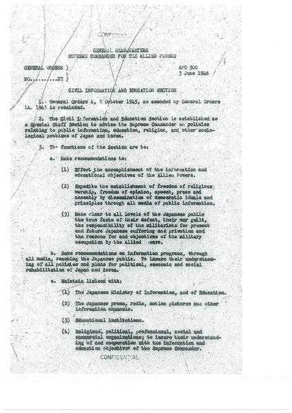 Civil Information and Education Section - APO500 - 3 June 1946