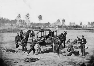 Medicine in the American Civil War - Ambulance drill being demonstrated at Headquarters Army of Potomac after the Battle of Antietam and the formation of the ambulance corps. (March 1864)
