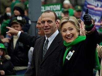 Dan Onorato - Onorato marches with Senator Hillary Clinton in Pittsburgh's 2008 St. Patrick's Day Parade.