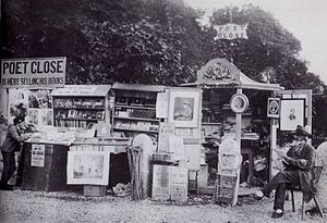 John Close - The poet at his Bowness bookstall in 1875