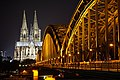 Cologne Cathedral at night from the other side of the Rhine (Rhein) 7.jpg