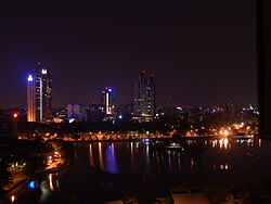 The skyline of Colombo at night