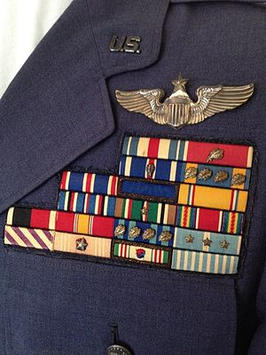Robert P. Baldwin - Colonel Baldwin's ribbon rack on his service dress uniform.