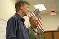 Colorado Gov. John Hickenlooper, left, and U.S. Army Maj. Gen. H. Michael Edwards, the adjutant general of the Colorado National Guard, meet with civilian authorities supporting efforts to fight the Black Forest 130614-Z-OS947-111.jpg
