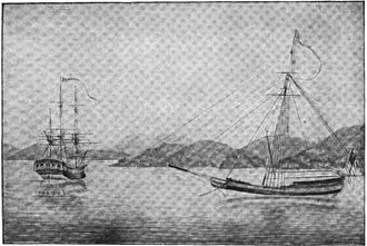 Robert Haswell - Haswell's drawing of the Columbia and Lady Washington, from his journal