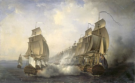 The British (right) and the French (left), with Admiral Suffren's flagship Cleopatre on the far left, exchange fire at Cuddalore, by Auguste Jugelet, 1836. Combat naval en rade de Gondelour, 20 juin 1783.jpg