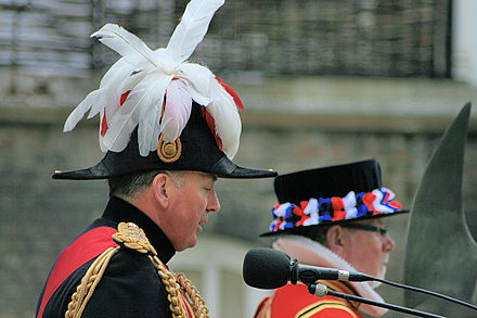 British Army cocked hat with General officer's plume, worn by Lord Dannatt, (Constable of the Tower). Constable Dannatt.jpg