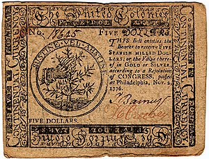 Continental Currency $5 banknote obverse (November 2, 1776).jpg