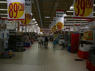Cora (hypermarket) - Interior of store in the southern Paris suburb of Massy.