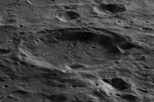 Cori (lunar crater) - Oblique Lunar Orbiter 5 image