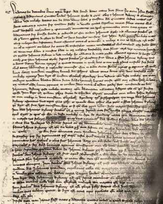 A photograph of the first page of the notes kept during Rykener's interrogation