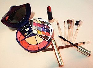Assorted beauty cosmetics and tools