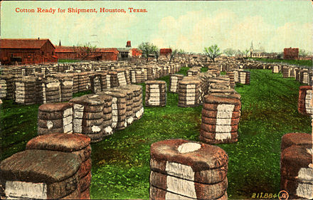 Cotton ready for shipment, Houston, Texas (postcard, circa 1911) - Cotton