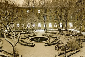 École Normale Supérieure - The school's Cour aux Ernests under a coat of snow.