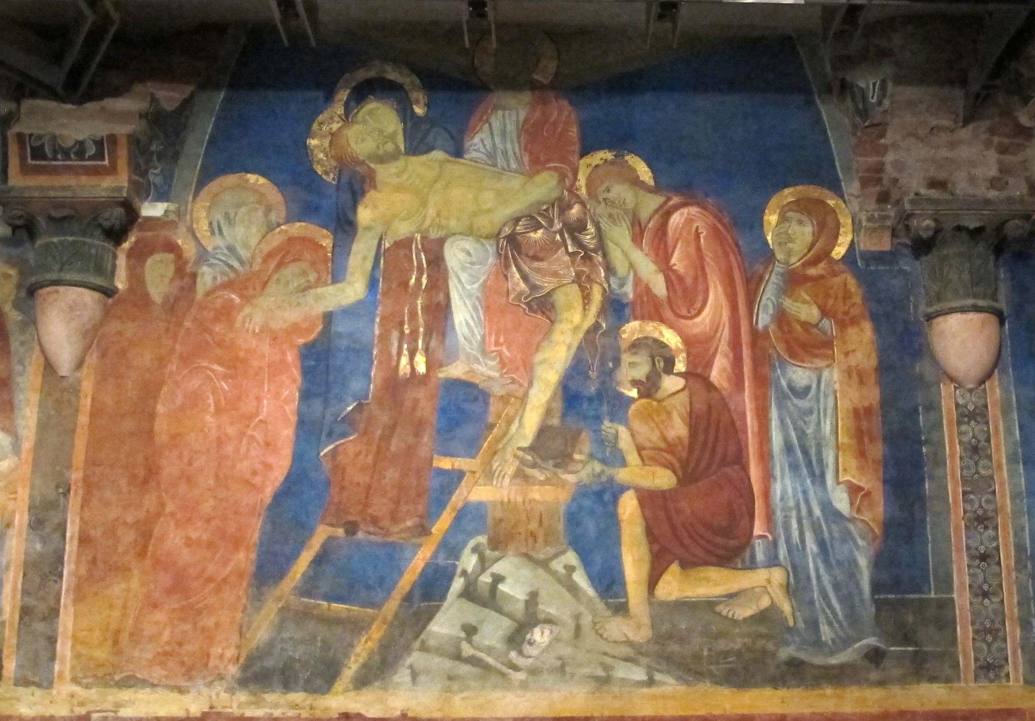 Cripta del duomo di siena, affreschi 04 deposizione 3