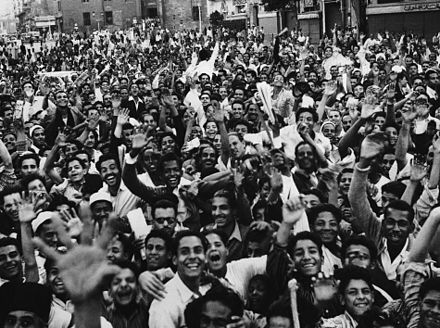 Crowd demonstrates against Britain in Cairo on 23 October 1951 as tension continued to mount in the dispute between Egypt and Britain over control of the Suez Canal and Anglo-Egyptian Sudan. Crowd demonstrates against Great Britain in Cairo.jpg