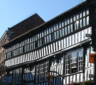 Crown Hotel, Nantwich - Second storey, showing continuous windows and overhang