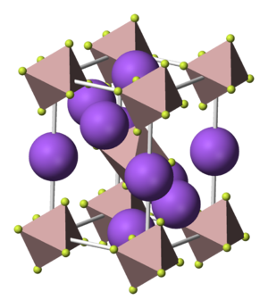 Cryolite - Cryolite's unit cell.  Sodium atoms are purple; fluorine atoms are pale green, arranged in octahedra around an aluminium atom.