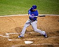 Cubs first baseman Anthony Rizzo prepares to swing at a pitch during World Series Game 7. (30707237396).jpg