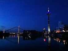 Midnight sky in Dusseldorf, Germany