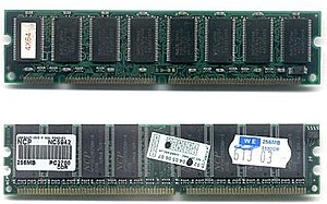 DIMM - Two types of DIMMs: a 168-pin SDRAM module (top) and a 184-pin DDR SDRAM module (bottom). The SDRAM module has two notches (rectangular cuts or incisions) on the bottom edge, while the DDR1 SDRAM module has only one. Also, each module has eight RAM chips, but the lower one has an unoccupied space for the ninth chip.